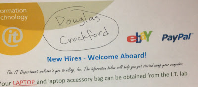 Doug's new hire welcome sticker in his cube