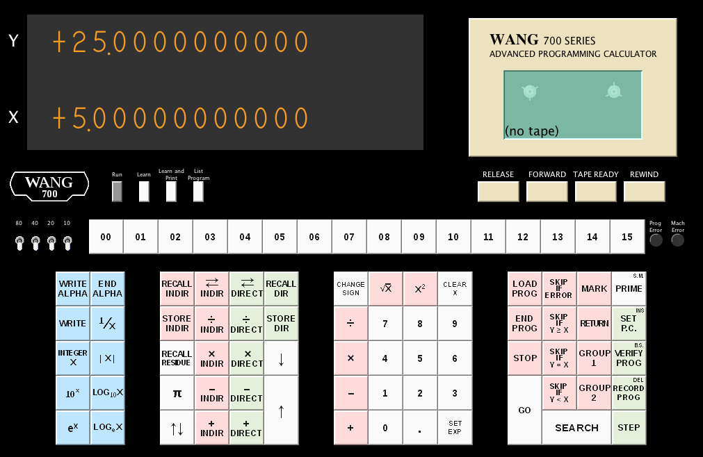 Screenshot of the Series 700 Emulator